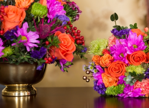 Racine orange and pink wedding florist