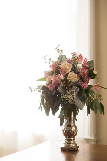 Racine Waterford pink and gray table arrangement roses