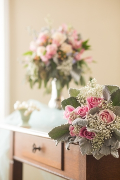 Racine floral centerpiece lace pink babies breath