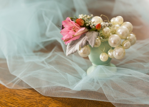 pink and gray wedding vintage Kenosha florist