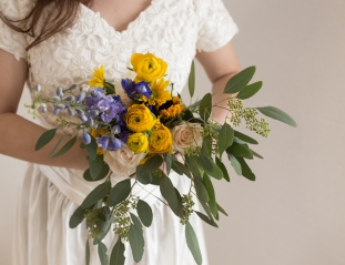 blue and yellow wedding florist outdoor