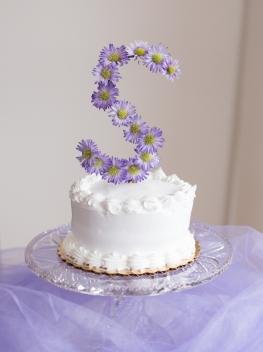 Racine wedding florist event cake monogram