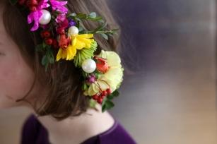 Flower girl Waterford pearls in hair